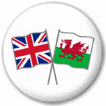 Great Britain and Wales Friendship Flag 25mm Pin Button Badge